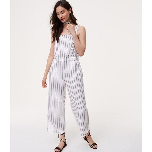 2a0f044e75d LOFT Pants - LOFT Striped Apron Jumpsuit